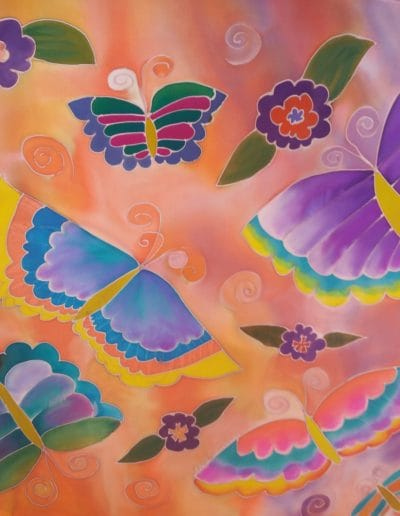 """Butterflies are Free"" Silk Wall Hanging $295"