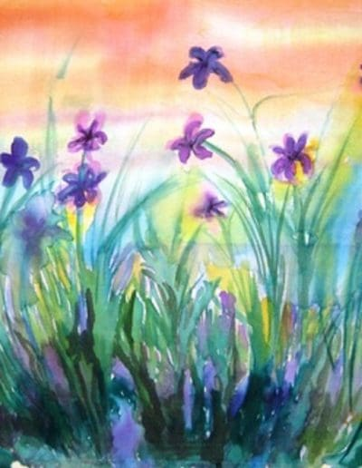 Dancing Iris-silk painting-framed in white-$195