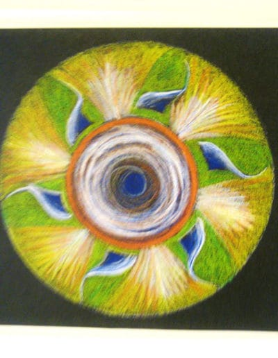 Spinning Sun Mandala color pencil